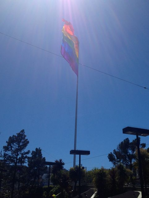 The Gay Pride flag at Castro and Market
